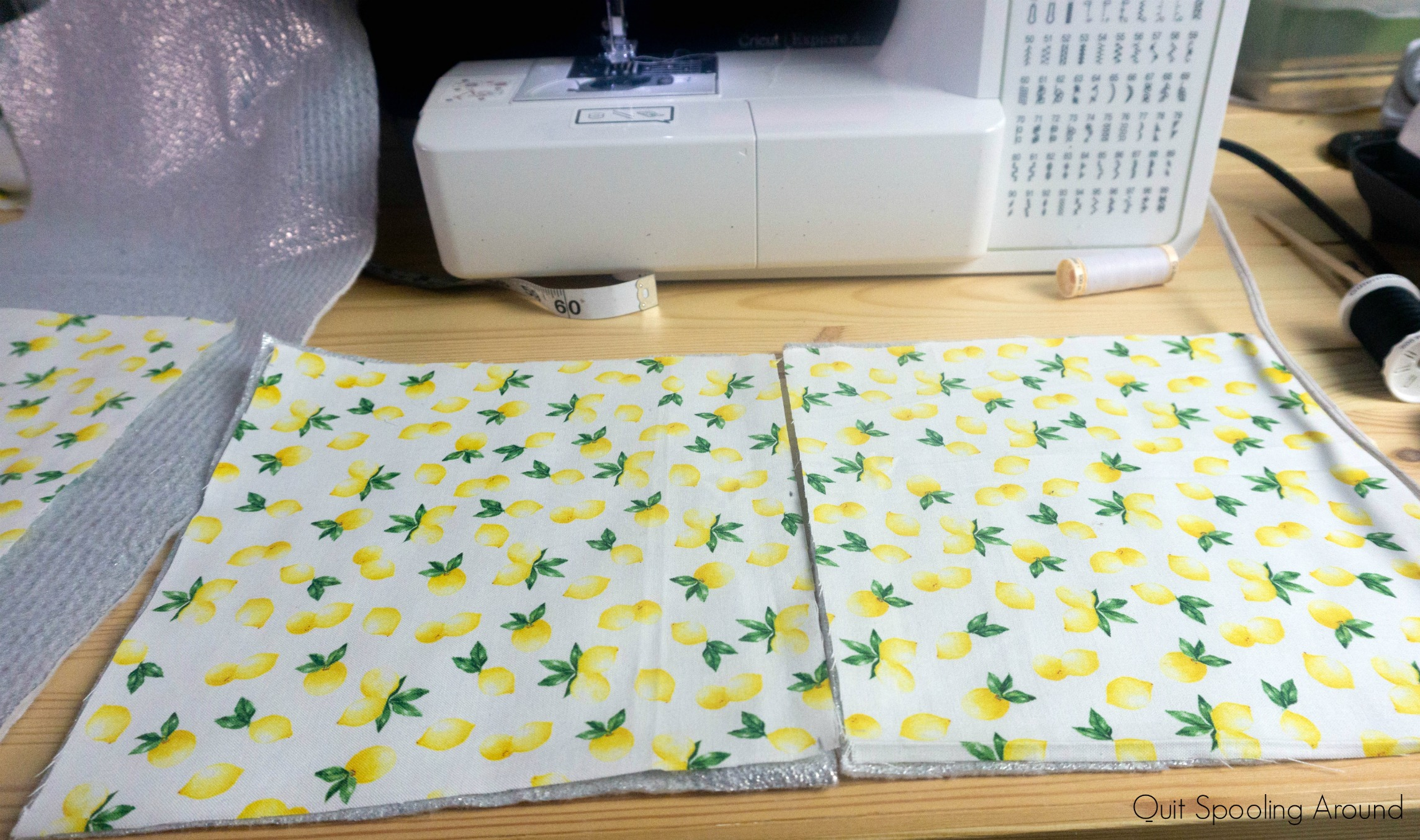 Fabric squares to make a kitchen pot holder