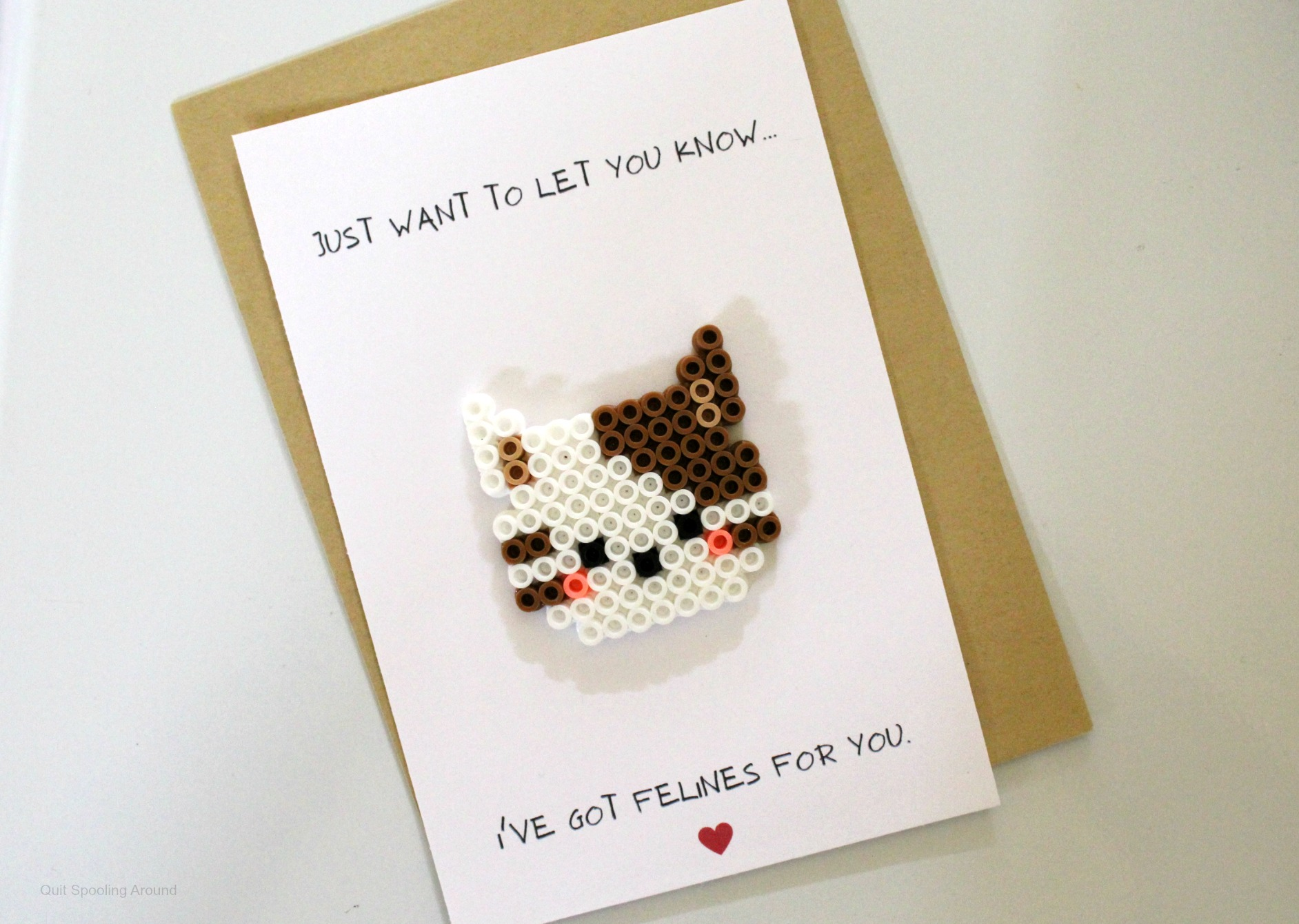 Cat Perler Bead Love Pun Card