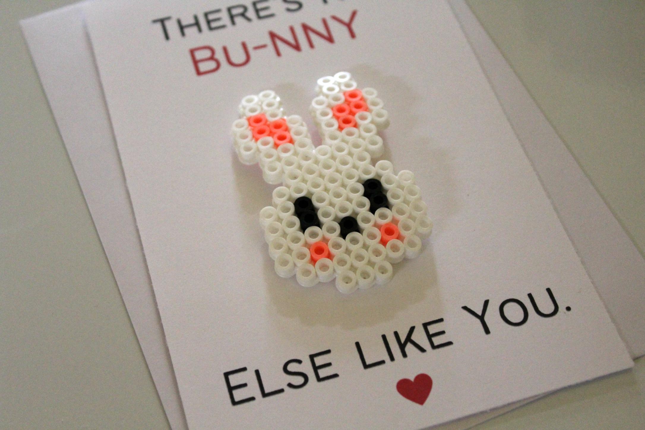 Bunny Perler Bead Love Pun Card