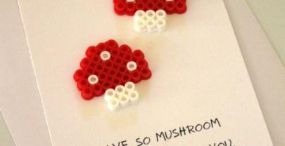 Mushroom Perler Bead Card