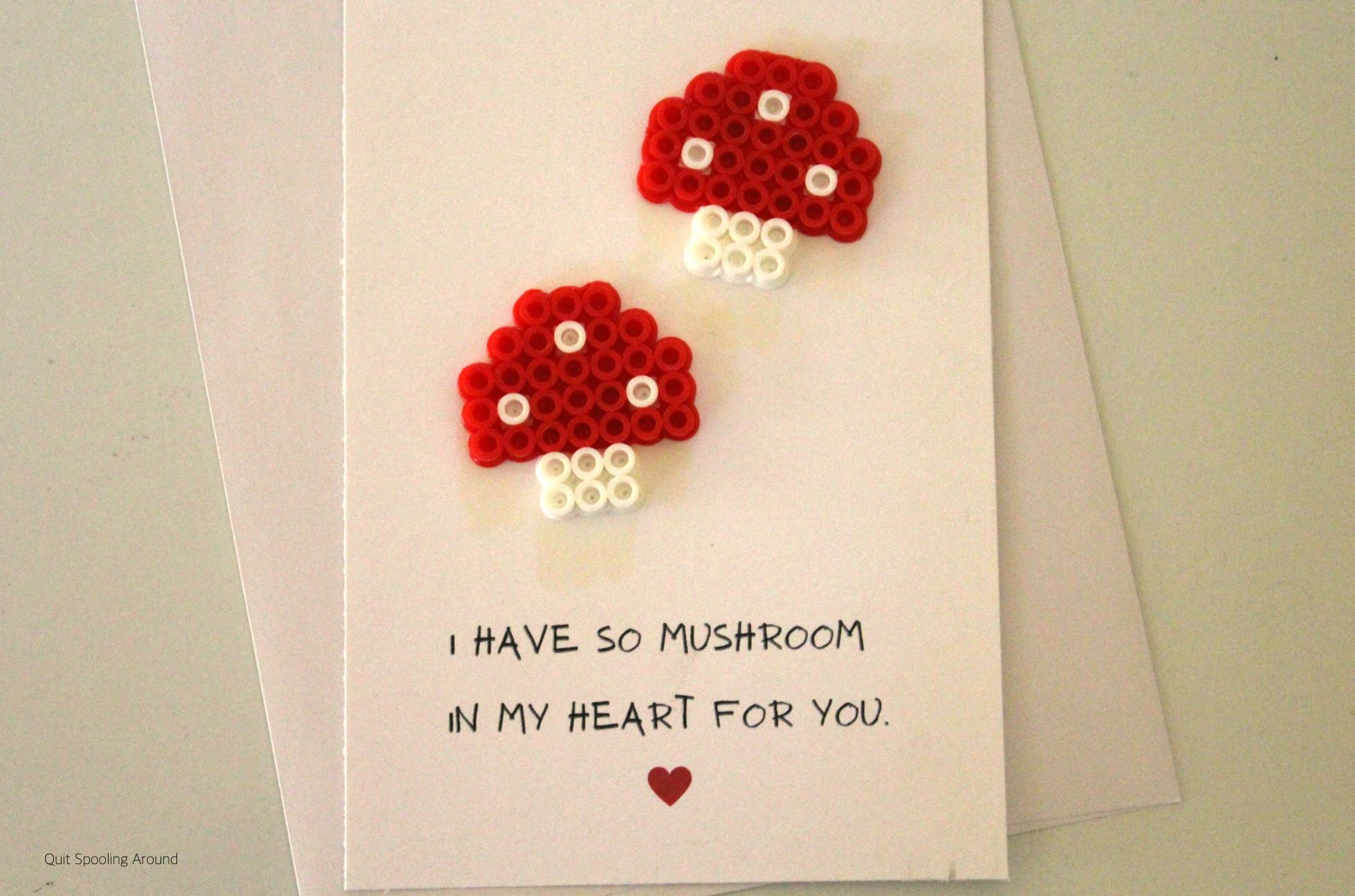 "<span itemprop=""name"">Mushroom Perler Bead Pun Card</span>"