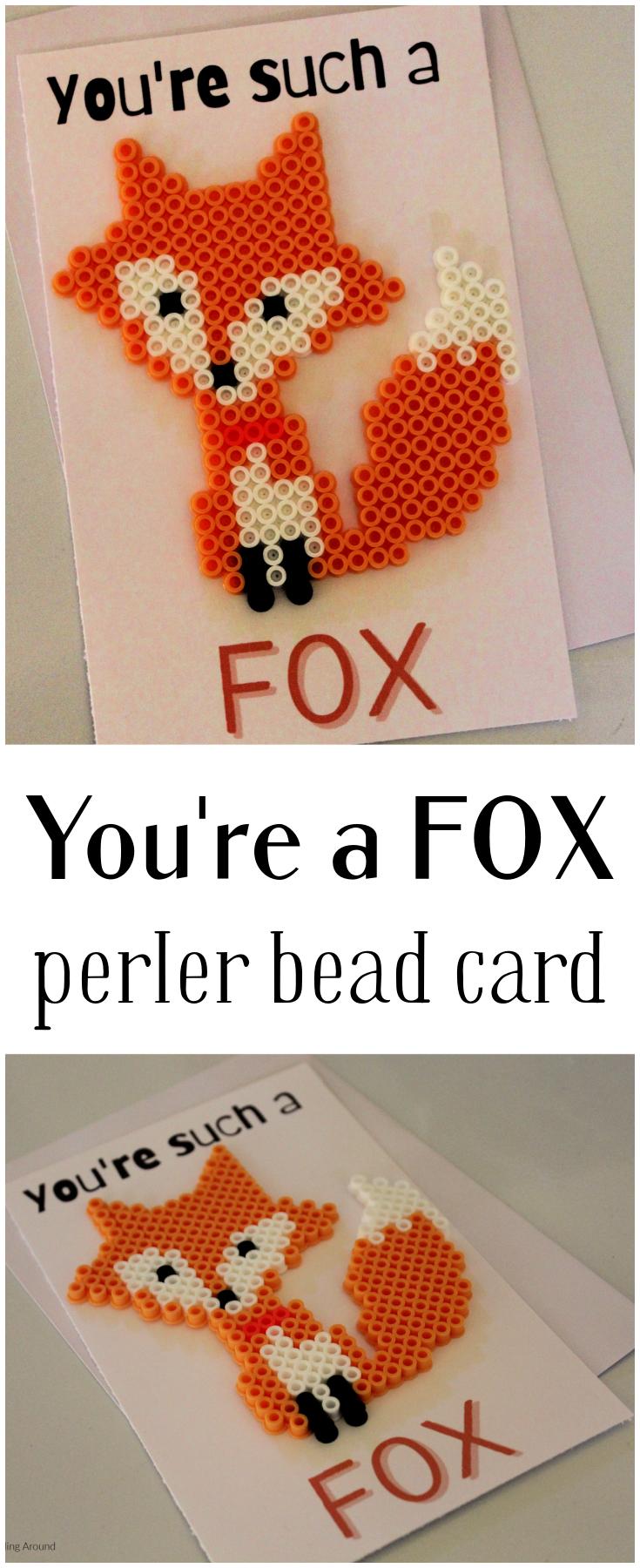 Such a Fox Perler Bead Card