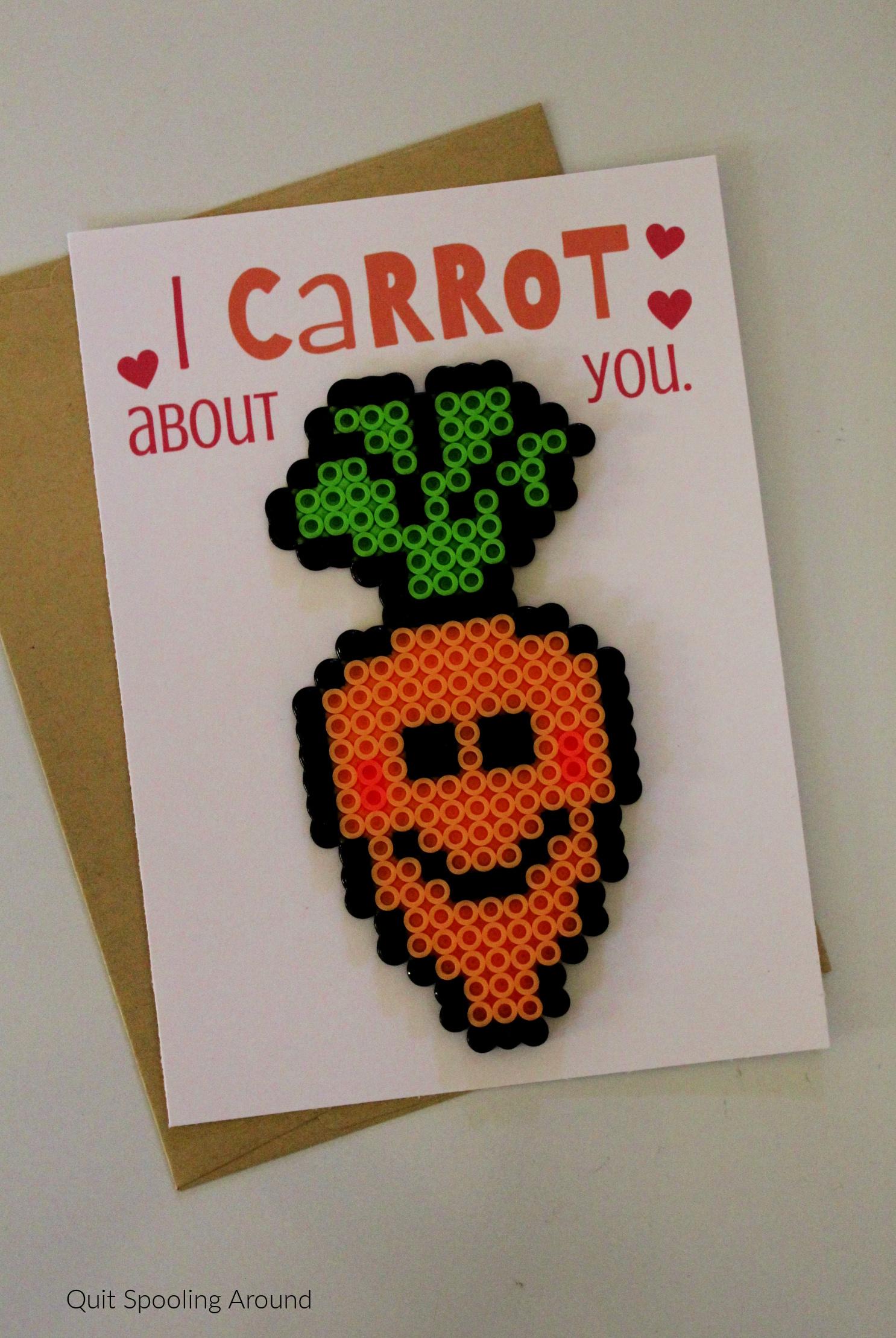 Carrot Perler Bead Pun Card