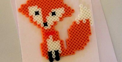 Fox Perler Bead Love Pun Card