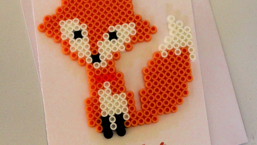 Fox Perler Bead Love Pun Card