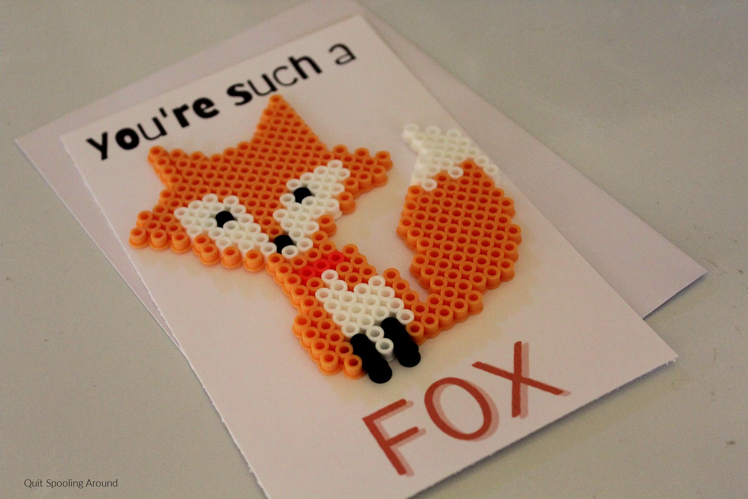 Fox Perler Bead Pun Card