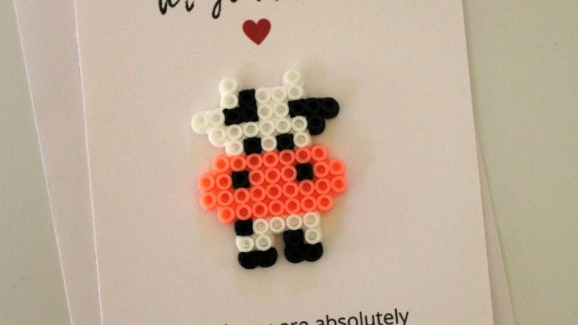 Cow Perler Bead Love Pun Card
