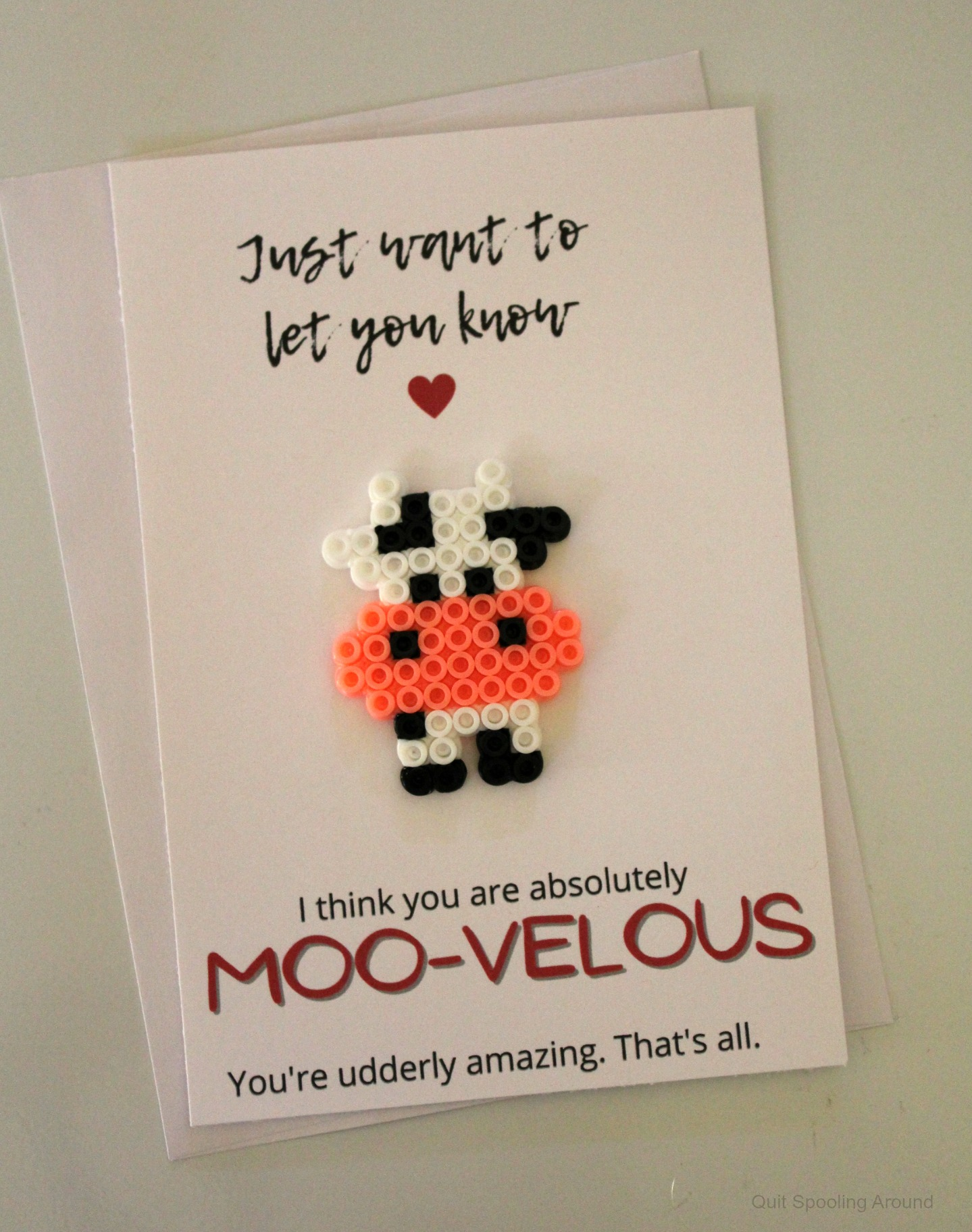 You are MOOVELOUS Perler Bead card