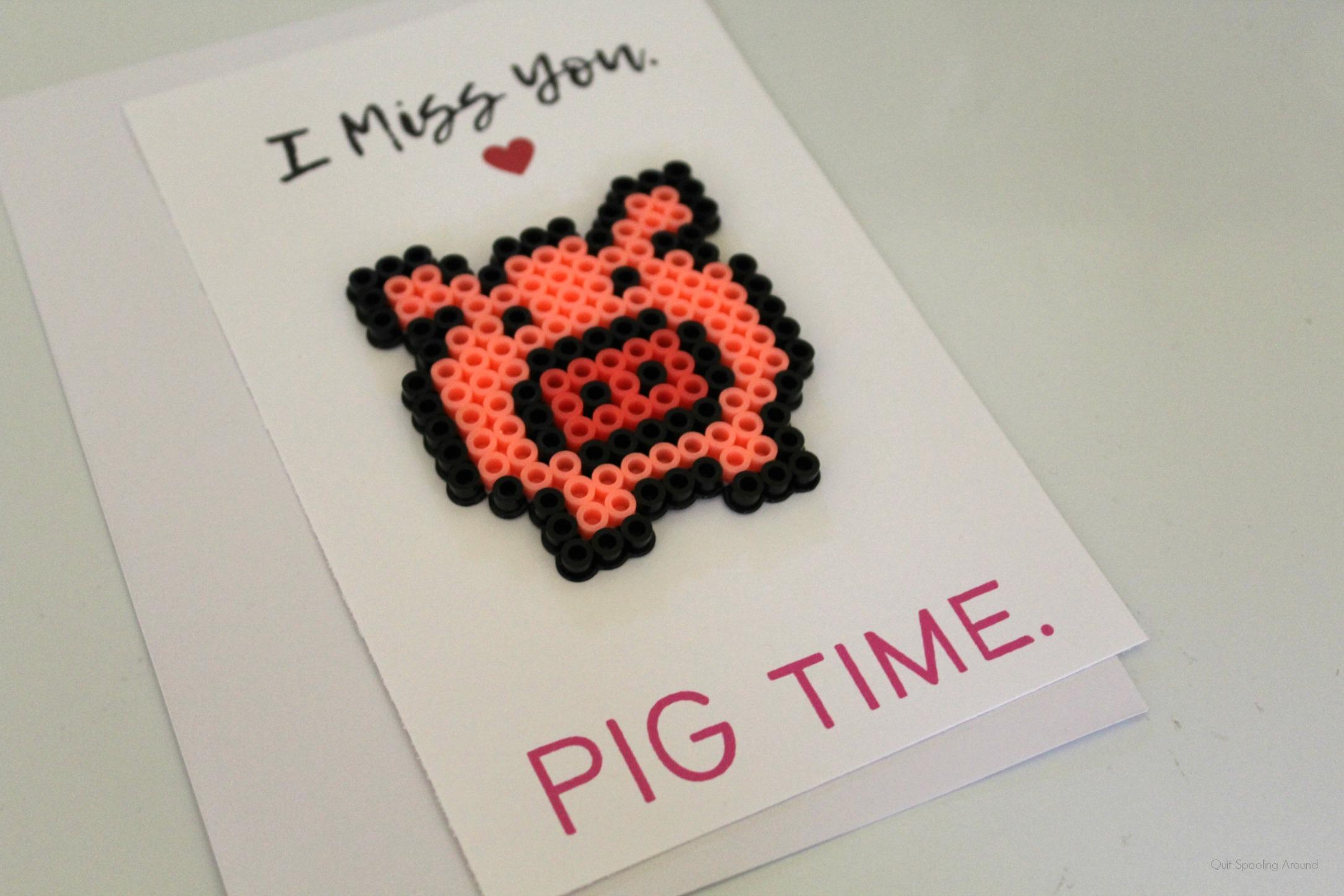Pig Perler Bead Pun Card