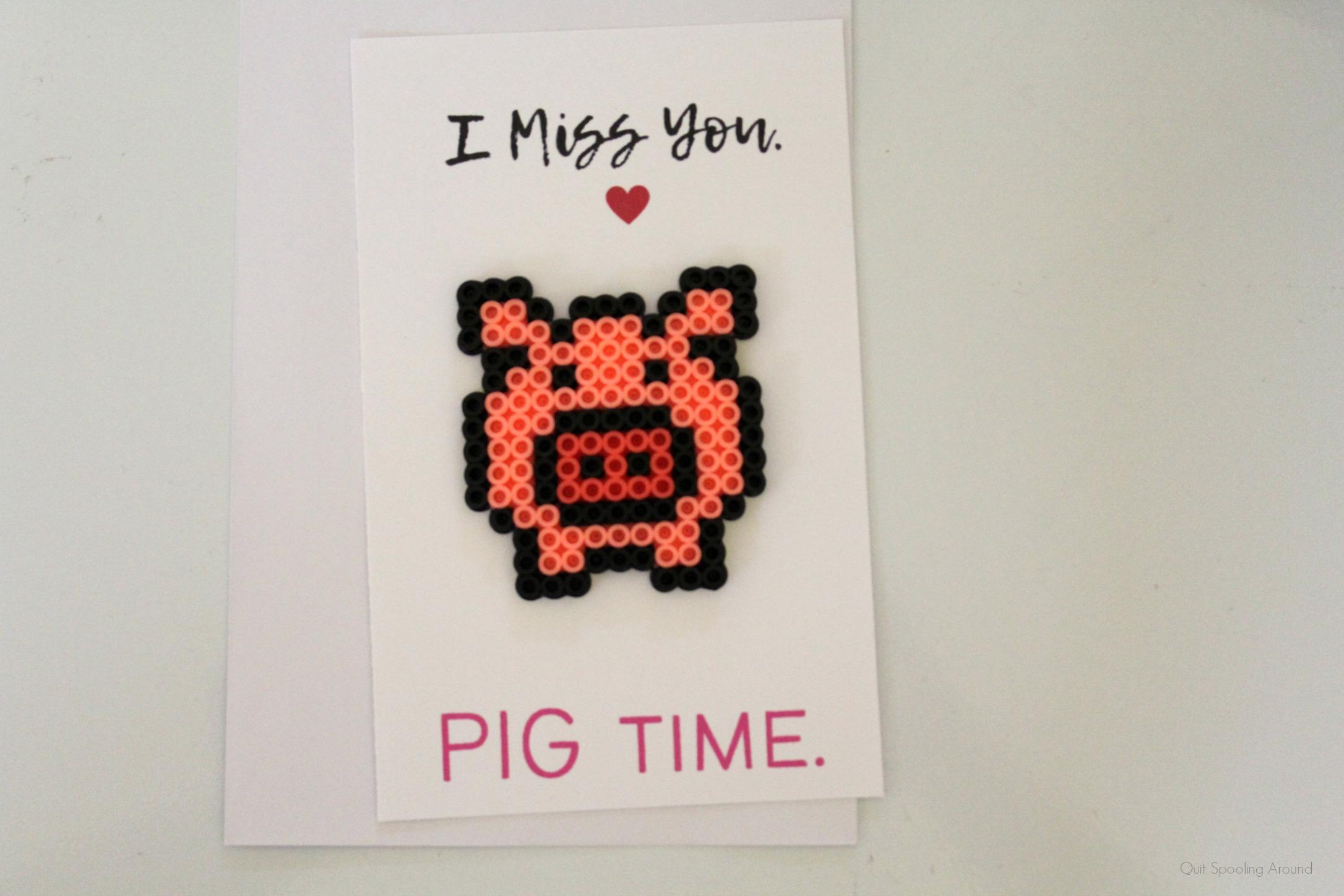 Pig Perler Bead Card
