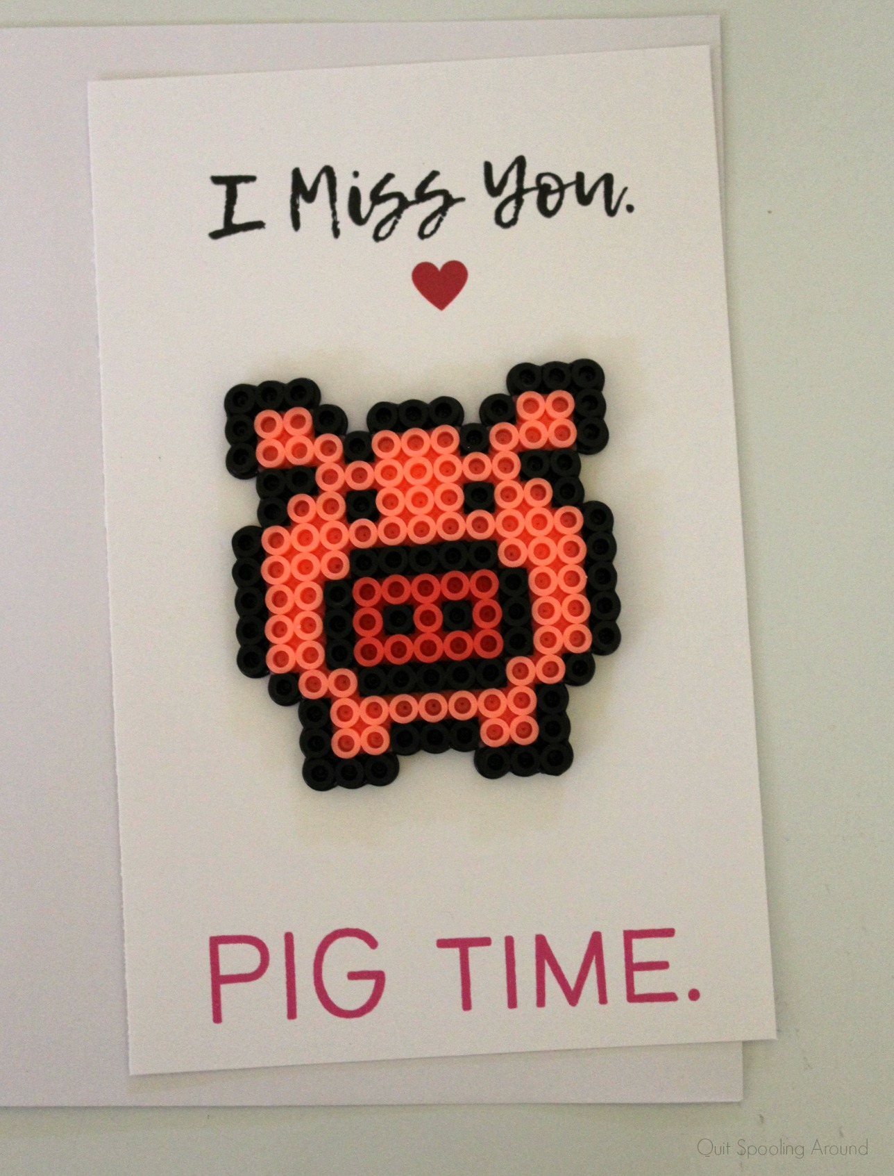 Pig Perler Bead Love Pun Card