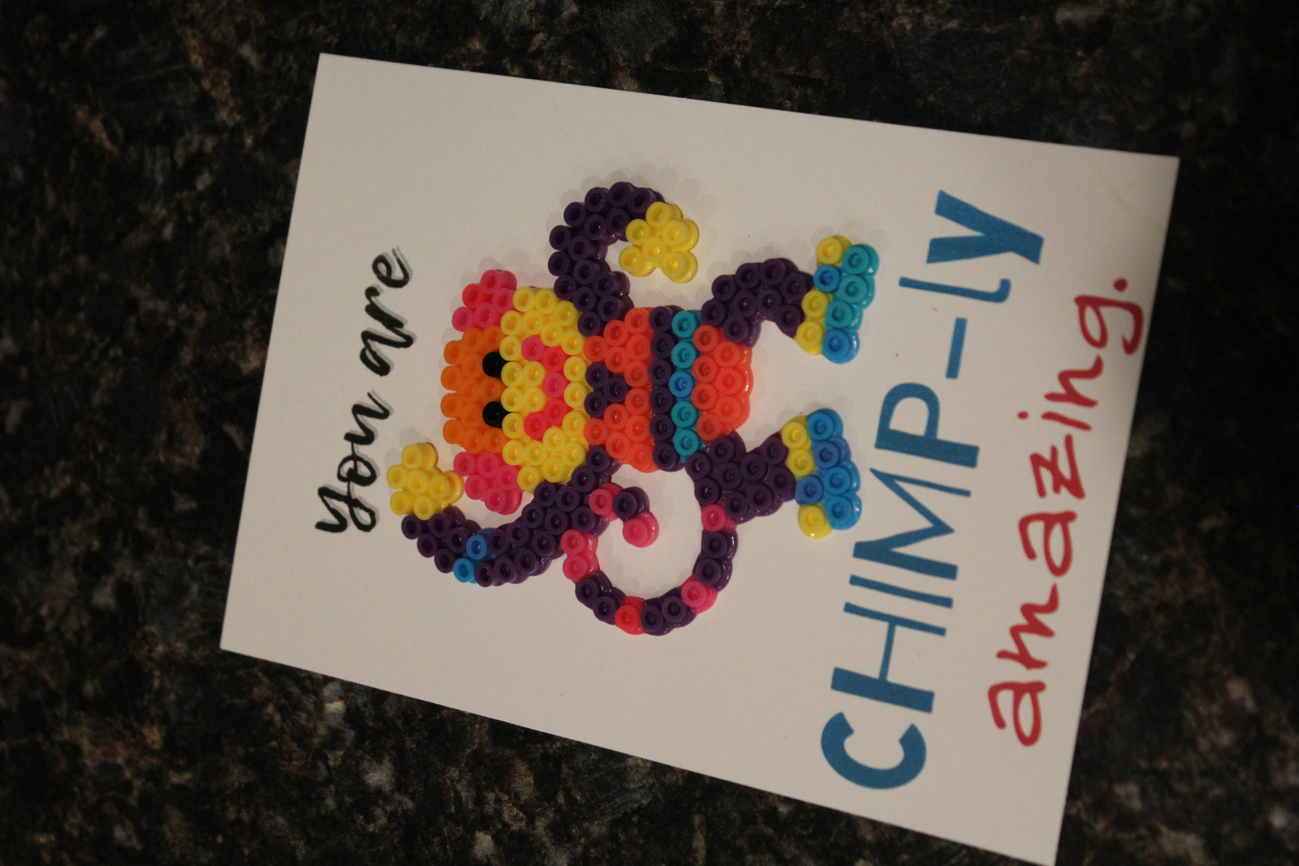 "<span itemprop=""name"">You're CHIMP-ly Amazing! Perler Pun Card</span>"